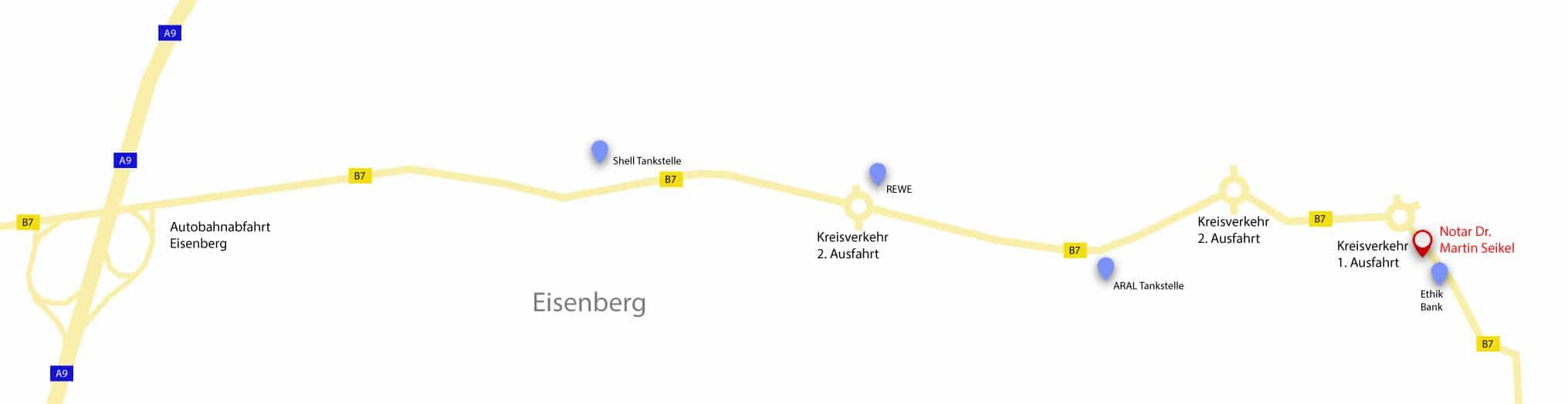 Anfahrt Notar Dr. Martin Seikel aus Jena, Gera und Umgebung